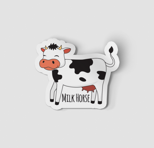 2-Inch Die-Cut Cow Milk Horse Sticker