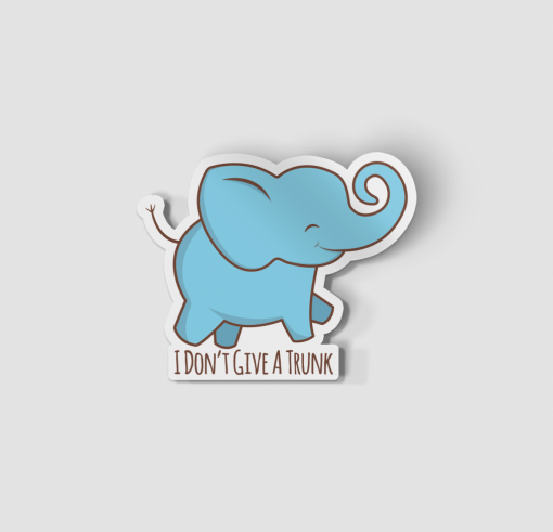 2-Inch Die-Cut Elephant I Don't Give A Trunk Sticker