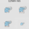 Elephant, Giant Stomp Stomp, I Don't Give A Trunk Sticker Pack