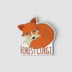 2-Inch Die-Cut Fox Forest Corgi Sticker