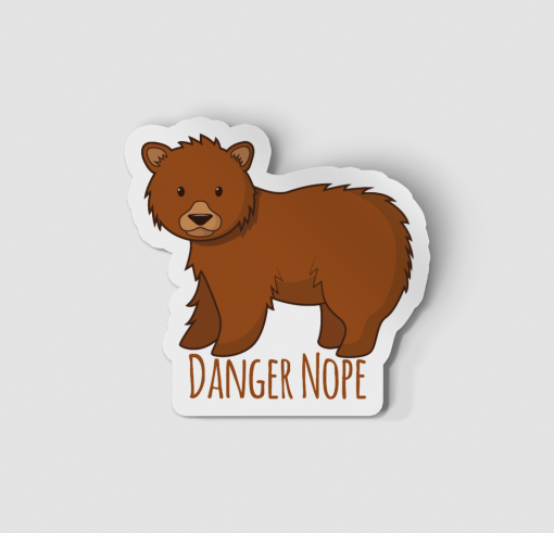 2-Inch Die-Cut Grizzly Bear Danger Nope Sticker