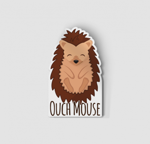 2-Inch Die-Cut Hedgehog Ouch Mouse Sticker