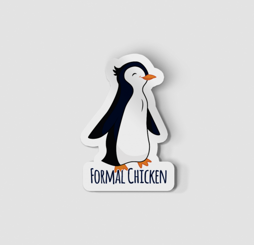 2-Inch Die-Cut Penguin Formal Chicken Sticker