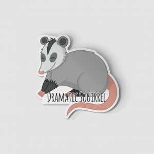 2-Inch Die-Cut Possum Dramatic Squirrel Sticker