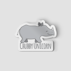 2-Inch Die-Cut Rhino Chubby Unicorn Sticker