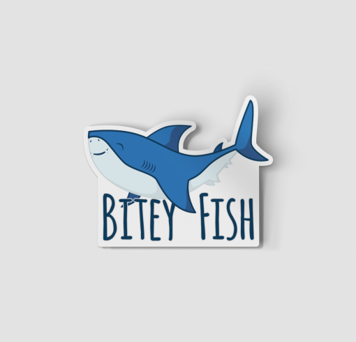 2-Inch Die-Cut Shark Bitey Fish Sticker