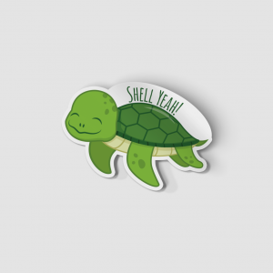 2-Inch Die-Cut Turtle Shell Yeah Sticker