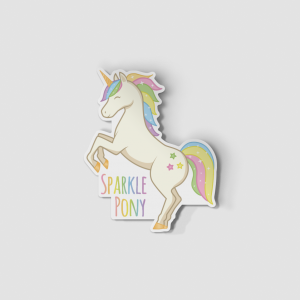 2-Inch Die-Cut Rearing Unicorn Sparkle Pony Sticker